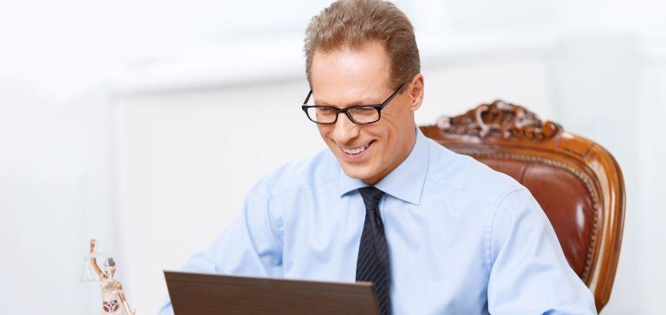 Lawyer on computer doing SEO